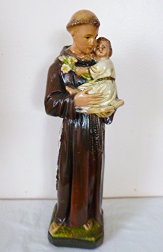 "Vintage statuary Old 12.5"" ST Anthony of Padua Infant Jesus Chalkware Statue Figurine"