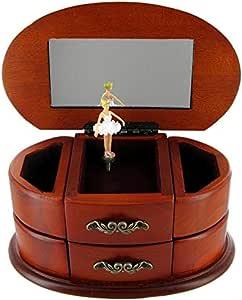 Caja de música para joyas y anillos / joyero musical de madera con ...