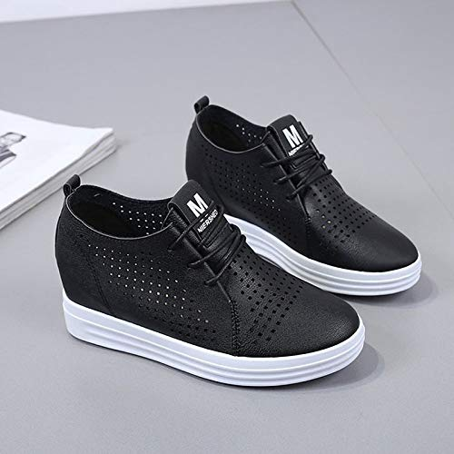 Zapatos Flat ZHZNVX de Heel Mujer Blanco Summer Round Negro PU Up Sneakers Poliuretano Toe Black Lace BR1nSRz