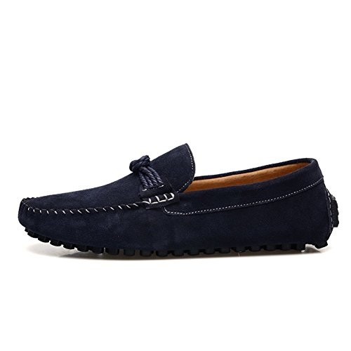 Enllerviid Herren Slip On Driving Mokassins Marine Wildleder Loafer Schuhe EU44