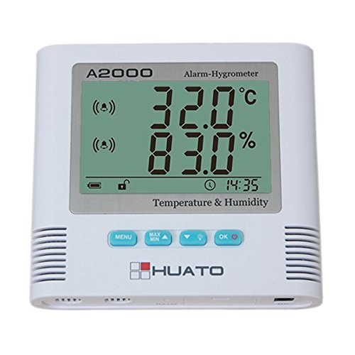 MeterTo Large LCD Sound & Light Alarm Hygro-thermometer A2000-TH Temperature -20~70℃ Humidity 0~100% RH MAX/MIN for laboratories, factories, medical warehouse and households by MeterTo