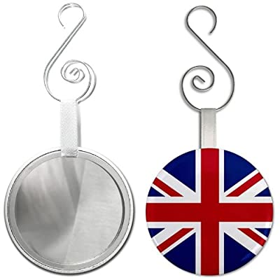ENGLAND UK UNION JACK World Flag 2.25 inch Glass Mirror Backed Ornament