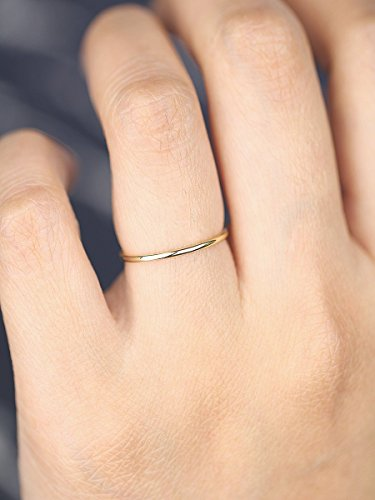 Amazon handmade full round wedding band 14k solid gold 1mm handmade full round wedding band 14k solid gold 1mm band minimalist ring 14k junglespirit Choice Image