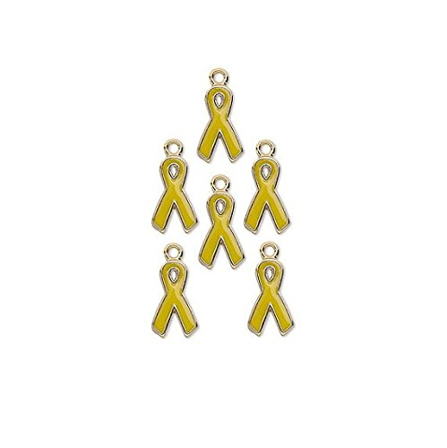 (Charm Awareness Ribbon Gold Plated Aluminum Yellow 15x9mm Package of 6 - WBA1162FN)