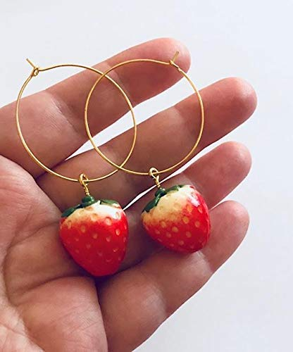 Cute Strawberry Gold Toned Earrings Hoops with 3D Style Charm Kawaii Cuteness Jewelry