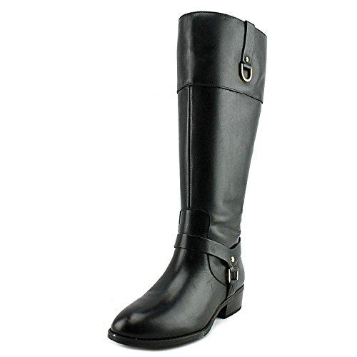 Ralph Lauren Womens Mesa Leather Almond Toe Knee High, Black/Black, Size 5.0 Id2