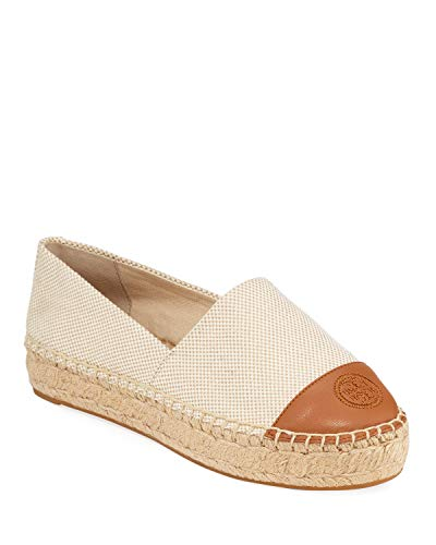 (Tory Burch Color Block Flat Espadrille Canvas Leather Natural Tan, Size 9.5)
