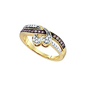Size 9 - 10k Yellow Gold Round Chocolate Brown Diamond Heart Love Ring (1/4 Cttw)