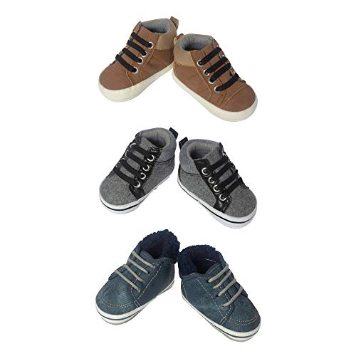 3 Pack Baby Boy Soft Sole Crib Shoes- Baby Boy High Top Boots for Casual, Everyday Wear- Assorted Colors in Pack Brown, Grey & Denim Blue- for Newborn & Infant 0-6 Months, Baby Shoe Size 1