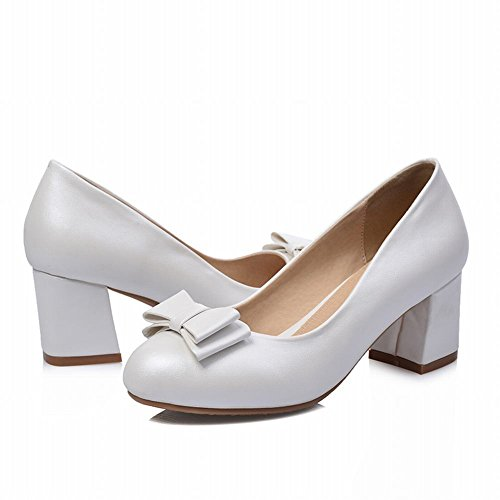 Carolbar Womens Bows Bridal Wedding Eleganza Chic Grace Charming Tacco Medio Abito Pumps Scarpe Bianche