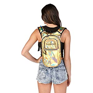 SoJourner Rave Hydration Pack Backpack - 2L Water Bladder included for festivals, raves, hiking, biking, climbing, running and more (multiple styles) (Holographic - Gold)