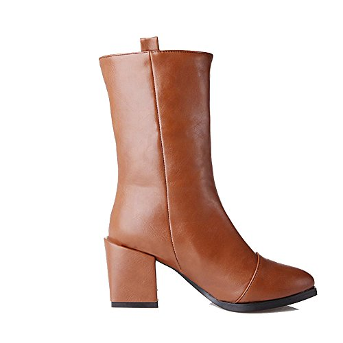 AgooLar Women's High-Heels Solid Pointed Closed Toe Soft Material Pull-On Boots Brown 0Cuva