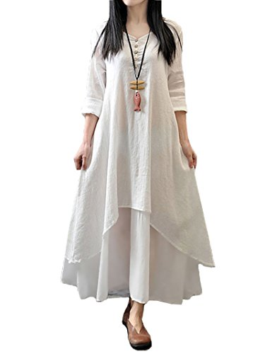 ress Casual Irregular Maxi Dresses Vintage Loose Long Sleeve Cotton Linen Dress, White, Large (Kaftan Long Sleeve)