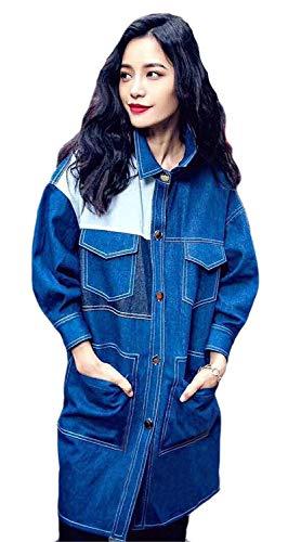 Elégant jean Blau Printemps manteau en Hx Automne Veste Fashion Lun femmes Manches Long qT6qrW