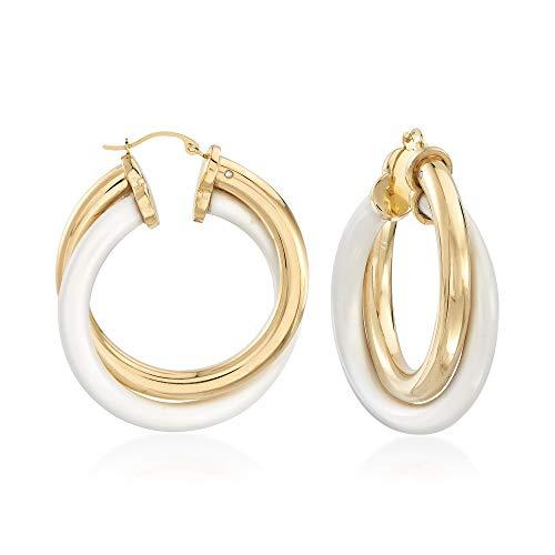 - Ross-Simons White Agate and 14kt Yellow Gold Hoop Earrings