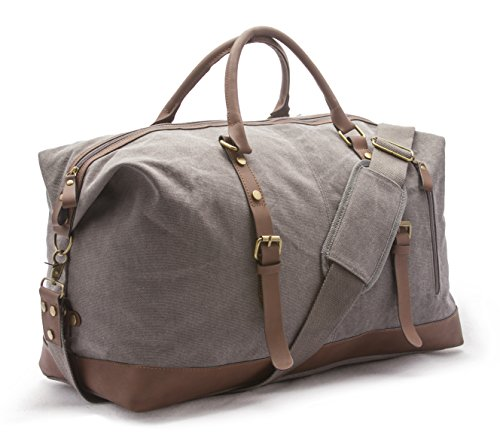 Sweetbriar Vintage Canvas Duffle Bag - Classic Weekender Travel Duffel