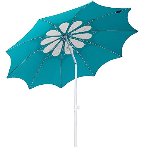 AMMSUN 10 Panels 7ft Polyester Fabric Outdoor Beach Umbrella, Adjustable Height, Hollow Pattern with Tilt UPF 50 Teal white