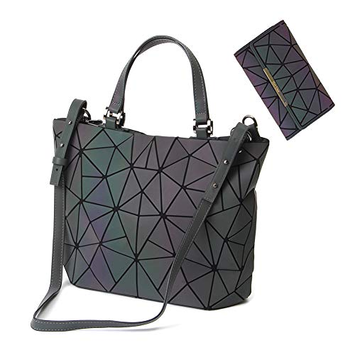 (HotOne Geometric Luminous Purses and Handbags Shard Lattice Eco-friendly Leather Rainbow Holographic Purse (Luminous Medium + Wallet)