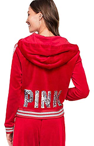 Victoria's Secret Pink Bling Perfect Full Zip Velour Hoodie, Red/Glitter, Large ()