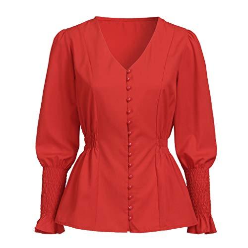 GOWOM Women Casual Solid Long Sleeve Soild Button V Neck Slim Fit Shirt Tops Blouse (Medium, -
