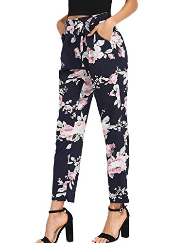 73dca93e6801 ROMWE Women s Casual Floral Print Pants Self Tie Waist Slim Ankle Pnats