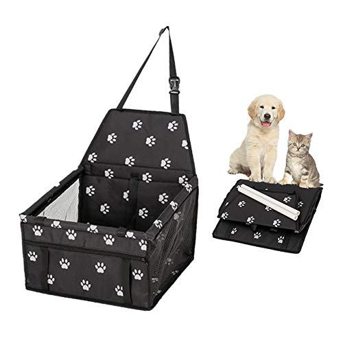 (Wildmarely Car Seats for Small Dogs, Pet Booster Folding Carrier with Clip-On Safety Leash,2 PVC Support Bars and Zipper Storage Pocket (Black-White Footprints))