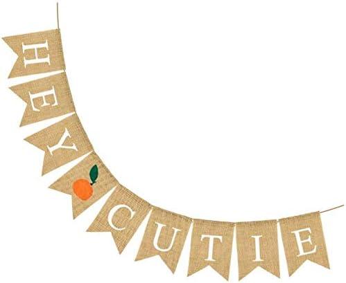 Hey Cutie Banner Thanksgiving Banner Burlap Bunting Banner Garland Sign for Thanksgiving Fall Harvest Home Decor