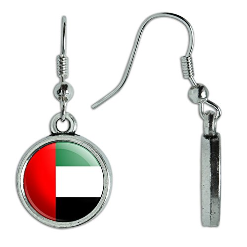 Novelty Dangling Drop Charm Earrings Country National Flag T-Z - United Arab Emirates National Country