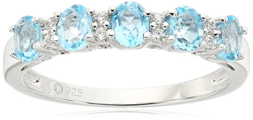 Topaz Zircon Ring (Sterling Silver Swiss Blue Topaz and White Zirconia 5-stone Stackable Ring, Size 7)