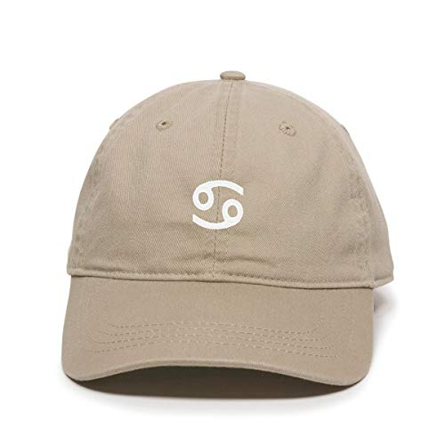 Zodiac Hat - Cancer Zodiac Baseball Cap Embroidered Cotton Adjustable Dad Hat Khaki
