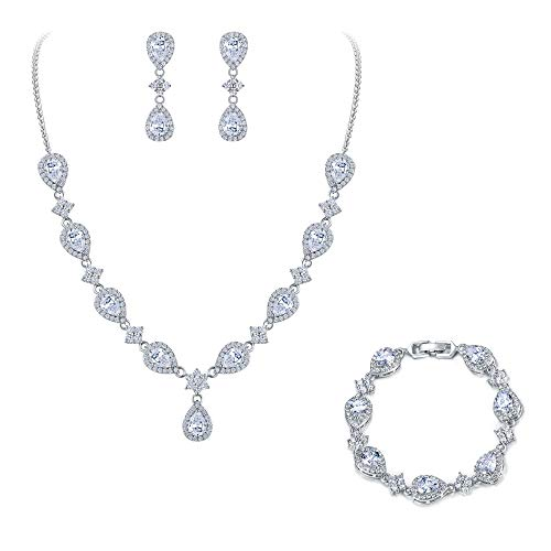 - EleQueen Women's Silver-Tone Cubic Zirconia Teardrop Flower Bridal V-Necklace Set Tennis Bracelet Dangle Earrings Clear