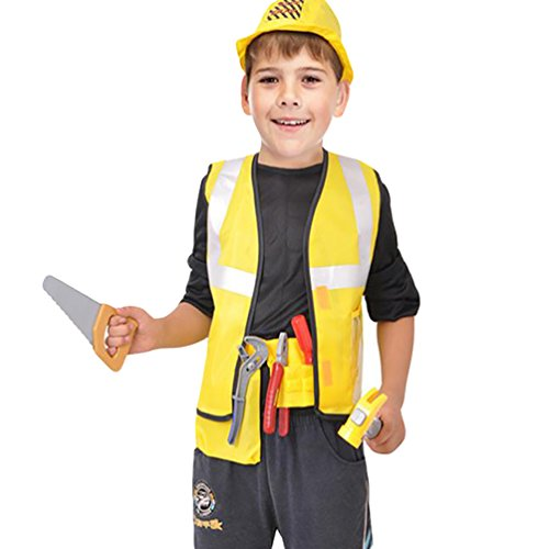 [NiSeng Halloween Costumes Set Construction Worker Role Play Yellow L(5-6 Years)] (Girl Construction Worker Costumes)
