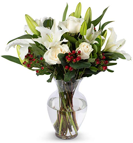 Benchmark Bouquets White Elegance Bouquet with Vase - Fresh Flowers - Overnight Shipping and Delivery - White Roses, White Oriental Lilies, Red Hypericum, Flower Bouquet, Floral Arrangements