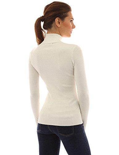 Bianco a v maglione pulsante collo Donne PattyBoutik coste 1pwzqBz
