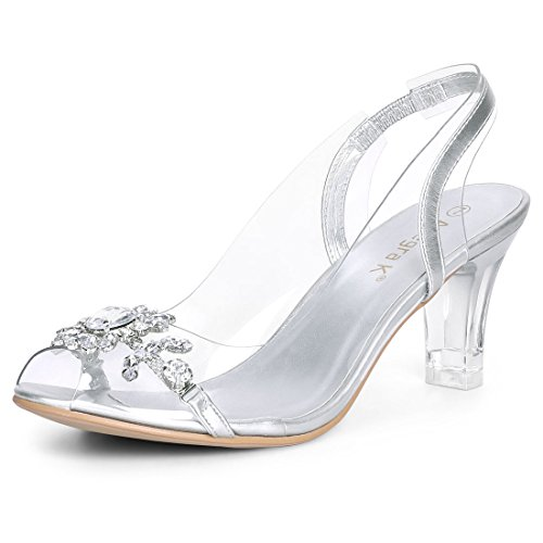 Allegra K Women's Flower Rhinestone Peep Toe Heels Silver Sandals - 6.5 M US