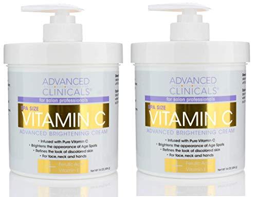 Advanced Clinicals Vitamin C Cream. Advanced Brightening Cream. Anti-aging cream for age spots, dark spots on face, hands, body. (Two - 16oz)