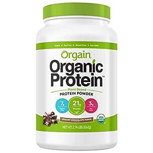 Orgain Organic Plant Based Protein Powder, Creamy Chocolate Fudge, Vegan, Gluten Free, Kosher, Non GMO, 2.03 Pound, Packaging May Vary