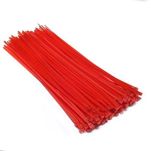 Multi-Purpose Nylon Zip Ties - (100 Piece) Self Locking Cable Ties with Ultra Strong Plastic 8, (Multiple Colors to Choose from - Dark Red) ...