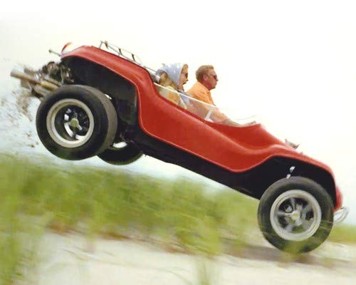 Steve McQueen and Faye Dunaway in The Thomas Crown Affair Classic Meyers Manx Dune Buggy in air 8x10 Promotional Photograph