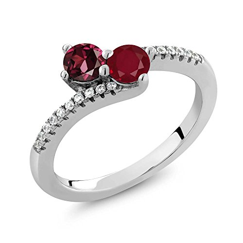 (Gem Stone King 0.91 Ct Round Red Rhodolite Garnet Red Ruby 2 Stone 925 Sterling Silver Bypass Ring (Size 9))