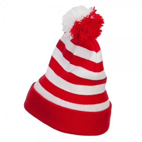 Striped Pom Pom Cuff Long Beanie - Red White OSFM