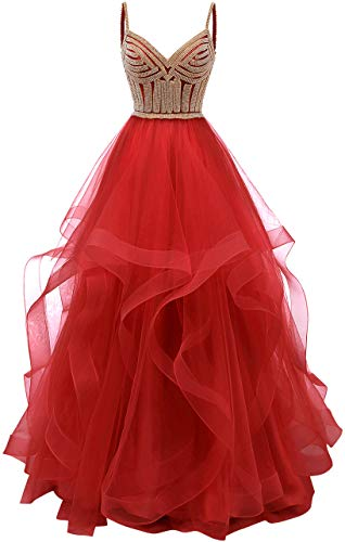 - Tulle Crystal Beaded Prom Dresses Tiered Formal Evening Dresses Spaghetti Strap Ball Gown(Red 2)