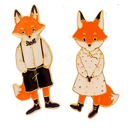 S-WAY 2 pcs Lovely Fox Lovers Cartoon Brooches