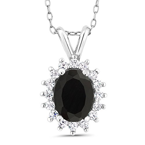Gem Stone King Oval Black Onyx 925 Sterling Silver Pendant 1.49 Cttw With 18 Inch Chain