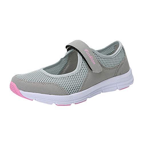 Kauneus  Women's Casual Walking Shoes Platform Shoes Nursing Shoes Breathable Work Sneakers Gray ()
