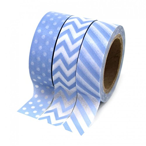 Dress My Cupcake Party Collection Washi Paper Tape, Baby Blue, Set of 3