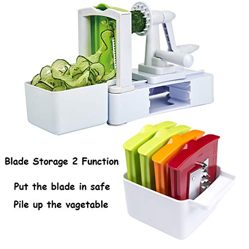 Spiralizer Vegetable Slicer 7-Blades, Strongest-and-Heaviest Duty Vegetable Spiral Slicer, Best Veggie Salad Pasta Spaghetti Maker for Keto/Paleo/Gluten-Free with Extra Blade Container by EAKON (Image #3)