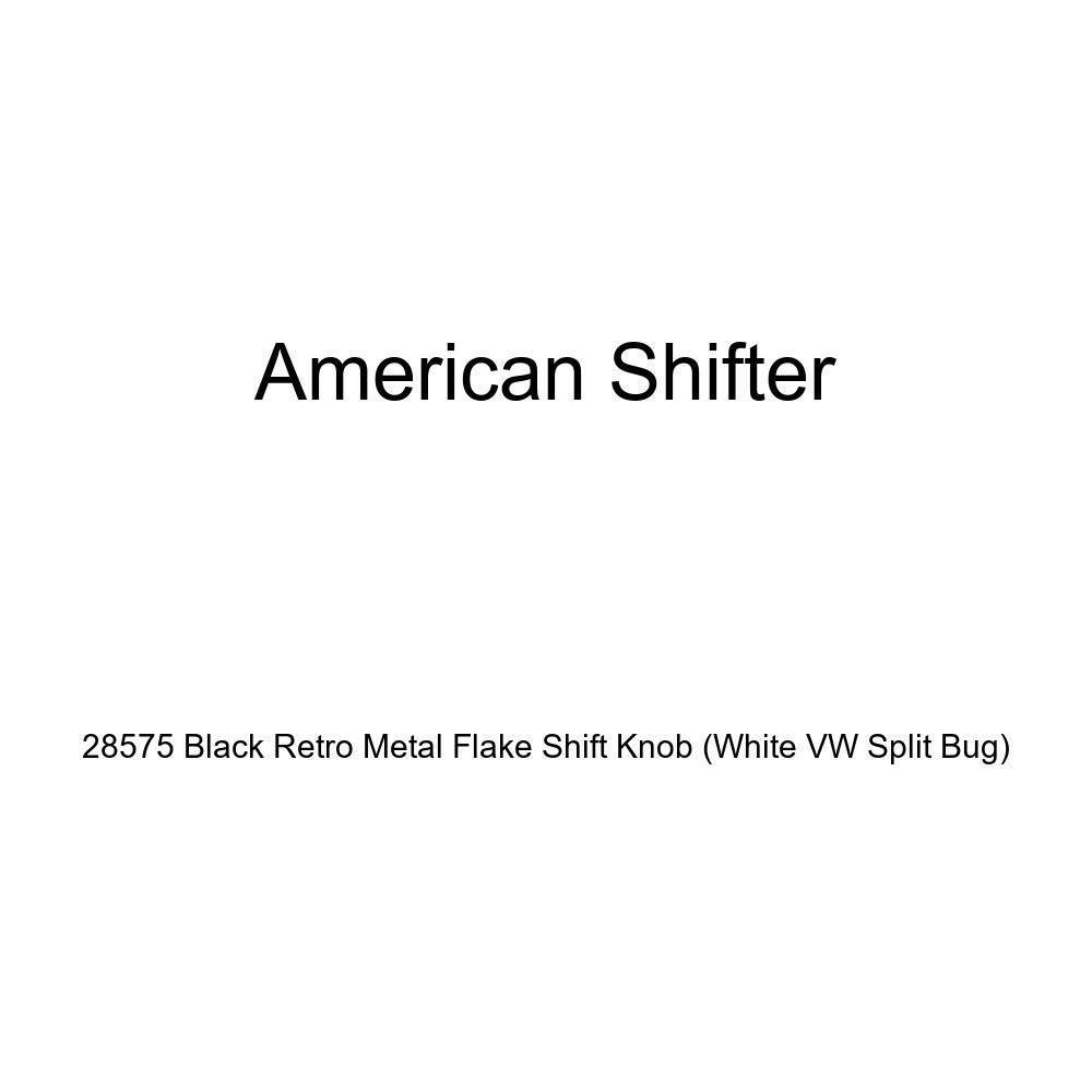 American Shifter 28575 Black Retro Metal Flake Shift Knob White VW Split Bug