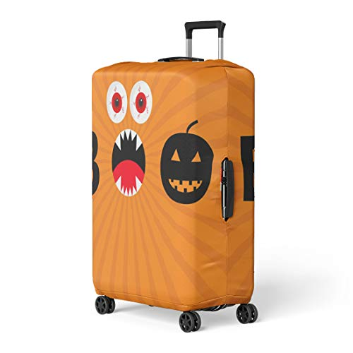 Pinbeam Luggage Cover Word Boo Text Smiling Sad Black Pumpkin Silhouette Travel Suitcase Cover Protector Baggage Case Fits 26-28 inches