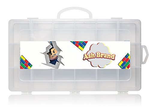 Video Mini Figures Case Organizer by Ash Brand| Legit carrying case toy Box With Handle| Large dimensions Compartments| Fits Up to 30 Action figurines characters| Beautiful movie minifigures storage